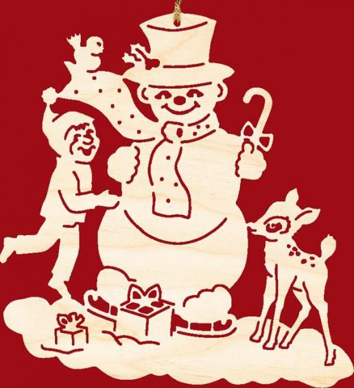 Schneemann mit Kind und Kitz