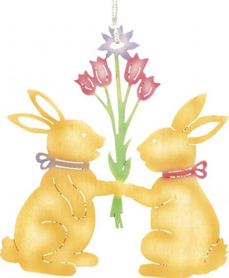 2 Häschen mit Blumenstrauss - farbig
