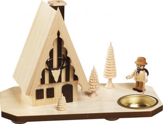 Forsthaus mit Wanderer