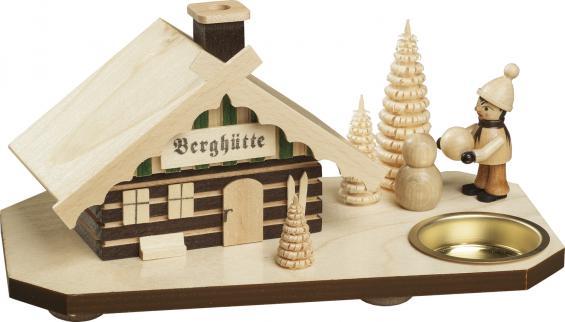 Berghütte mit Schneemann-Bauer