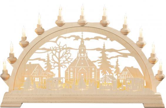 Seiffener Kirche mit Zaun Weihnachtsmarkt
