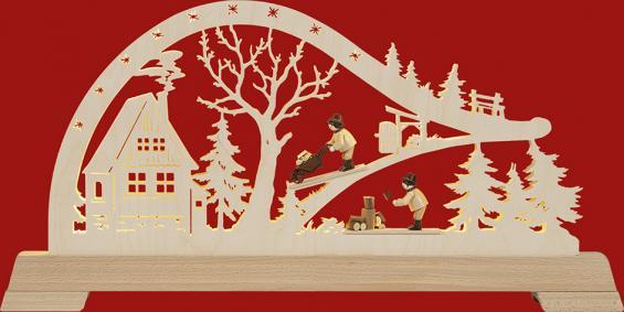 LED- Bogen Waldhütte mit Waldarbeiter mit Figruen